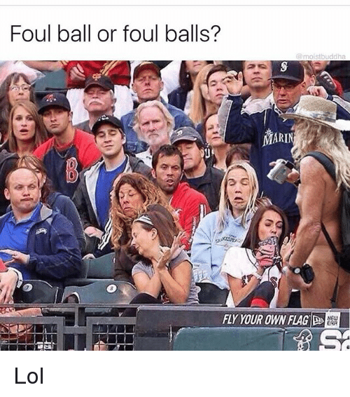 mariners: Foul ball or foul balls?  moistbuddha  MARIN  FLY YOUR OWN FLAG  ERA Lol
