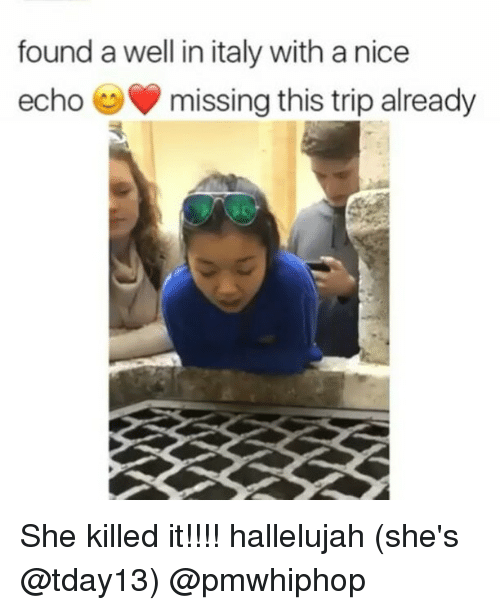 Hallelujah, Memes, and Italy: found a well in italy with a nice  echo missing this trip already She killed it!!!! hallelujah (she's @tday13) @pmwhiphop