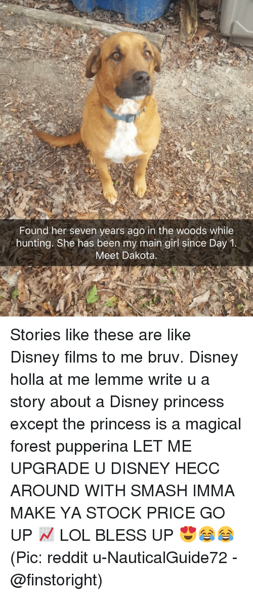 Bruv: Found her seven years ago in the woods while  hunting. She has been my main girl since Day1  Meet Dakota Stories like these are like Disney films to me bruv. Disney holla at me lemme write u a story about a Disney princess except the princess is a magical forest pupperina LET ME UPGRADE U DISNEY HECC AROUND WITH SMASH IMMA MAKE YA STOCK PRICE GO UP 📈 LOL BLESS UP 😍😂😂 (Pic: reddit u-NauticalGuide72 - @finstoright)