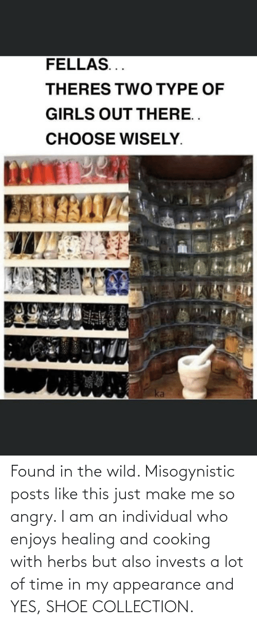 Individual: Found in the wild. Misogynistic posts like this just make me so angry. I am an individual who enjoys healing and cooking with herbs but also invests a lot of time in my appearance and YES, SHOE COLLECTION.