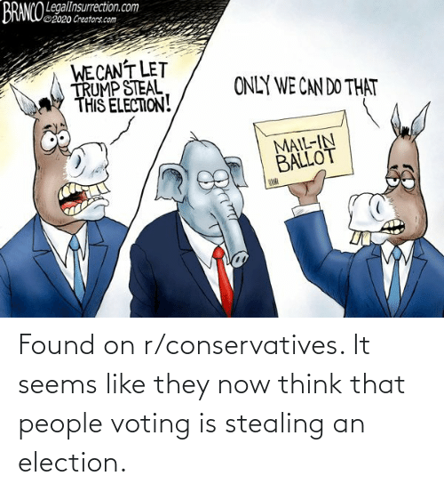 election: Found on r/conservatives. It seems like they now think that people voting is stealing an election.