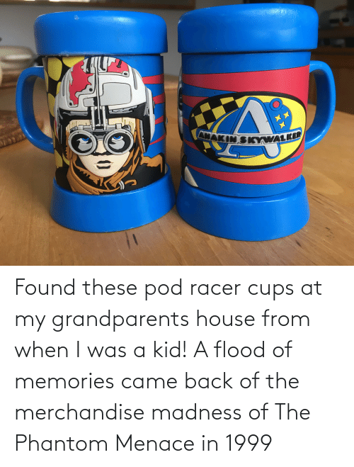 the phantom menace: Found these pod racer cups at my grandparents house from when I was a kid! A flood of memories came back of the merchandise madness of The Phantom Menace in 1999