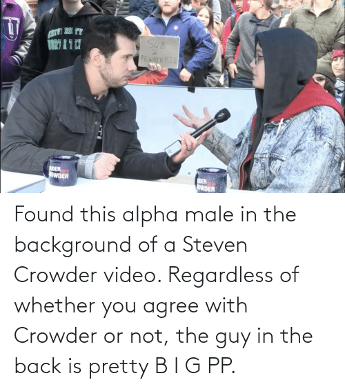 Crowder: Found this alpha male in the background of a Steven Crowder video. Regardless of whether you agree with Crowder or not, the guy in the back is pretty B I G PP.
