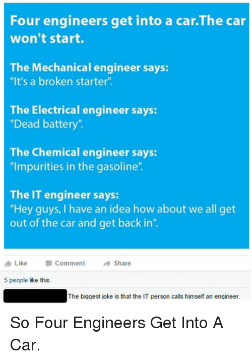 """electrical engineer: Four engineers get into a car.The car  won't start.  The Mechanical engineer says:  """"It's a broken starter"""".  The Electrical engineer says:  """"Dead battery""""  The Chemical engineer says:  """"Impurities in the gasoline  The IT engineer says:  Hey guys, I have an idea how about we all get  out of the car and get back in""""  Like  Comment  Share  5 people like this.  The biggest joke is that the IT person calls himself an engineer <p>So Four Engineers Get Into A Car.</p>"""