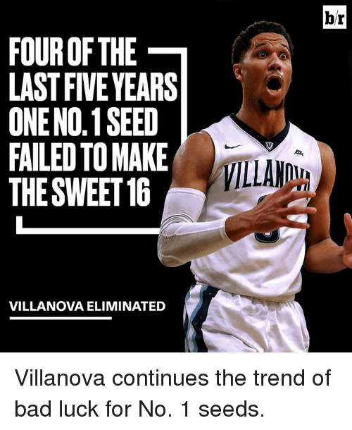 Villanova: FOUR OF THE  LAST FIVE YEARS  ONENO.1 SEED  FAILED TO MAKE  THE SWEET 16  VILLANOVA ELIMINATED  br Villanova continues the trend of bad luck for No. 1 seeds.