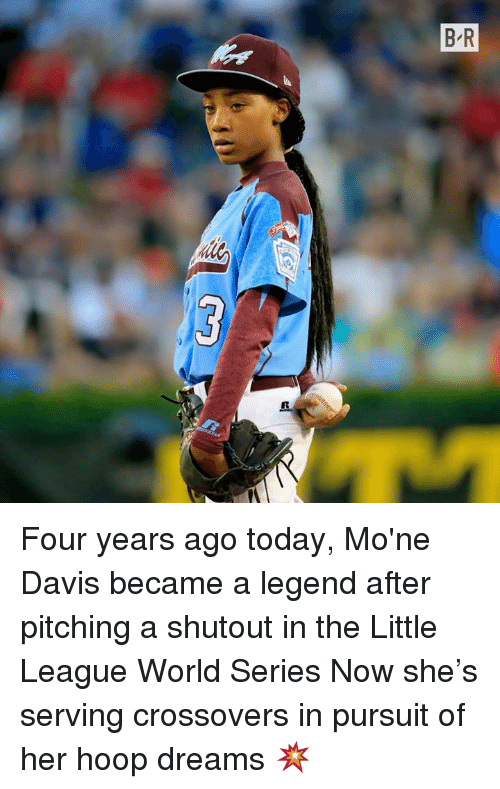 Hoop: Four years ago today, Mo'ne Davis became a legend after pitching a shutout in the Little League World Series   Now she's serving crossovers in pursuit of her hoop dreams 💥