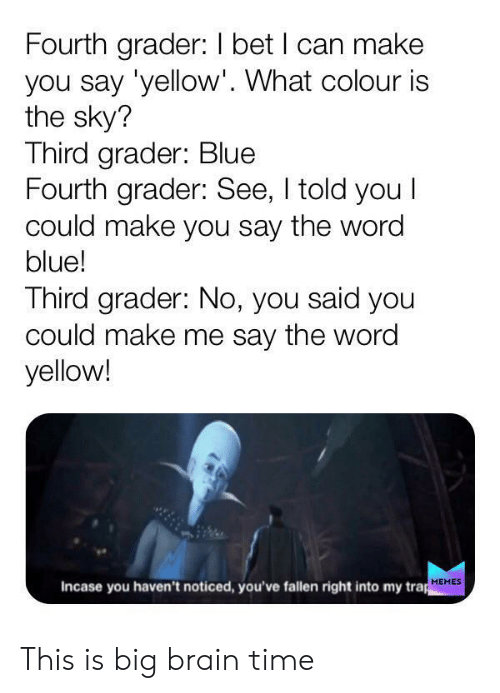 Trap Memes: Fourth grader: I bet I can make  you say 'yellow'. What colour is  the sky?  Third grader: Blue  Fourth grader: See, I told you I  could make you say the word  blue!  Third grader: No, you said you  could make me say the word  yellow!  Incase you haven't noticed, you've fallen right into my trap  MEMES This is big brain time