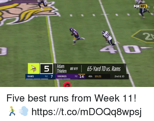 Memes, Best, and Rams: FOX  DXINFL  Adam  Thielen  VIKINGS 72 14 4th 10:21  WR #19  RAMS  2nd & 10 Five best runs from Week 11! 🏃💨 https://t.co/mDOQq8wpsj