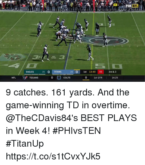 Indianapolis Colts, Philadelphia Eagles, and Memes: FOX  DXNFL  56  EAGLES  21  1st 13:40 053rd & 3  2-1 0 TITANS  NFL  TEXANS  0  COLTS  0  1st QTR  14:25 9 catches. 161 yards. And the game-winning TD in overtime.  @TheCDavis84's BEST PLAYS in Week 4! #PHIvsTEN #TitanUp https://t.co/s1tCvxYJk5