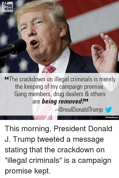 "Criminations: FOX  EWS  ""The crackdown on illegal criminals is merely  the keeping of my campaign promise.  Gang members, drug dealers & others  are being removed!""  -a realDonald lrump This morning, President Donald J. Trump tweeted a message stating that the crackdown on ""illegal criminals"" is a campaign promise kept."