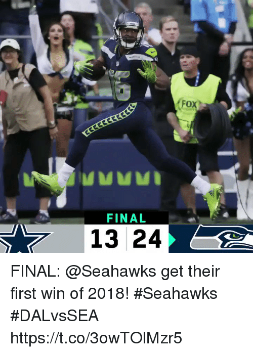 Memes, Seahawks, and 🤖: Fox  FINAL  13 24 FINAL: @Seahawks get their first win of 2018! #Seahawks  #DALvsSEA https://t.co/3owTOlMzr5