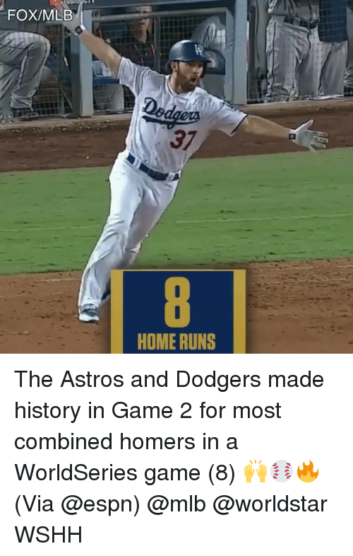 Astros: FOX/MLB  37  HOME RUNS The Astros and Dodgers made history in Game 2 for most combined homers in a WorldSeries game (8) 🙌⚾️🔥 (Via @espn) @mlb @worldstar WSHH