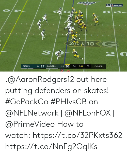 Defenders: FOX NETwaRK  OT  2  2D &10  20  1-2 27  3-0 20  EAGLES  PACKERS  3rd  6:44  09  2nd & 10 .@AaronRodgers12 out here putting defenders on skates! #GoPackGo   #PHIvsGB on @NFLNetwork | @NFLonFOX | @PrimeVideo How to watch:https://t.co/32PKxts362 https://t.co/NnEg2OqlKs