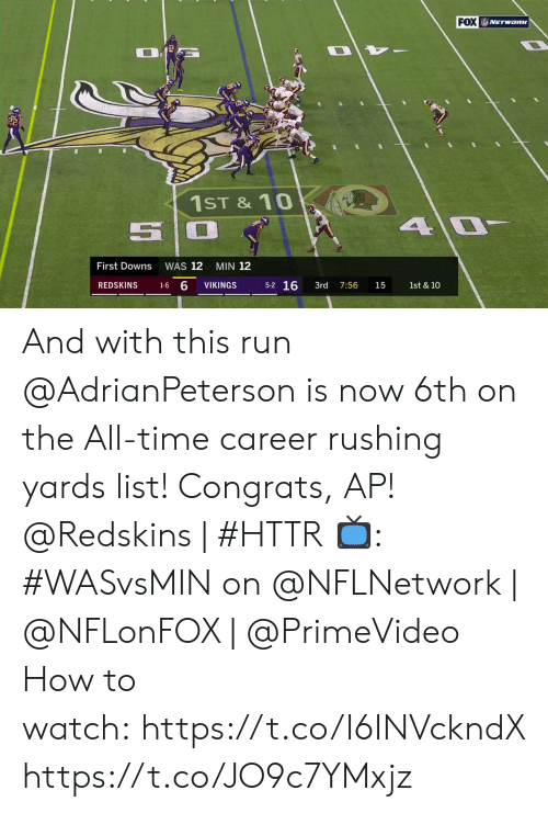 downs: FOX NETwoRK  1ST &10  4 0  First Downs  WAS 12  MIN 12  5-2 16  1-6 6  REDSKINS  VIKINGS  3rd  1st & 10  7:56  15 And with this run @AdrianPeterson is now 6th on the All-time career rushing yards list! Congrats, AP!  @Redskins | #HTTR  📺: #WASvsMIN on @NFLNetwork | @NFLonFOX | @PrimeVideo How to watch: https://t.co/I6INVckndX https://t.co/JO9c7YMxjz