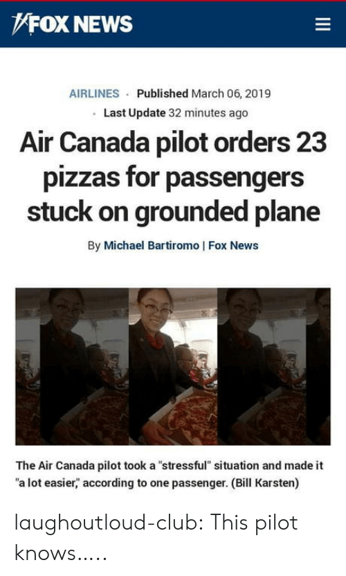 """grounded: FOX NEWS  AIRLINES Published March 06, 2019  Last Update 32 minutes ago  Alr Canada pilot orders 23  pizzas for passengers  stuck on grounded plane  By Michael Bartiromo   Fox News  The Air Canada pilot took a """"stressful"""" situation and made it  a lot easier,"""" according to one passenger. (Bill Karsten) laughoutloud-club:  This pilot knows….."""
