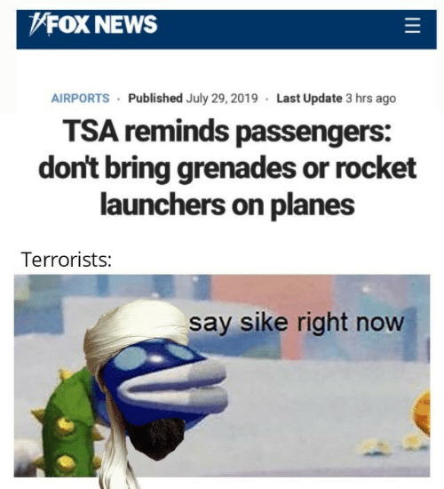 Fox News: FOX NEWS  AIRPORTS Published July 29, 2019 Last Update 3 hrs ago  TSA reminds passengers:  don't bring grenades or rocket  launchers on planes  Terrorists:  say sike right now