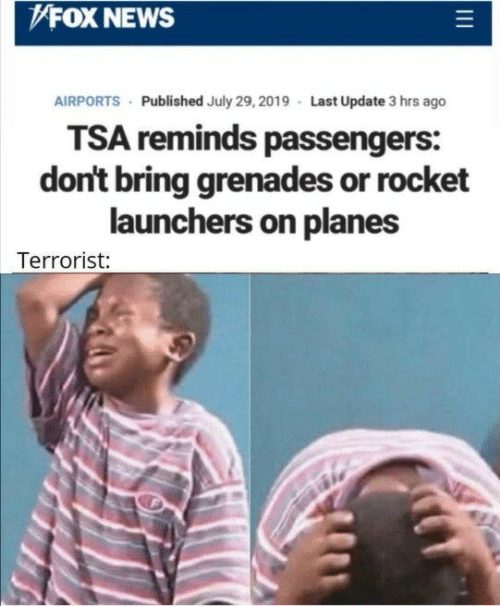 Fox News: FOX NEWS  AIRPORTS Published July 29, 2019 Last Update 3 hrs ago  TSA reminds passengers:  don't bring grenades or rocket  launchers on planes  Terrorist: