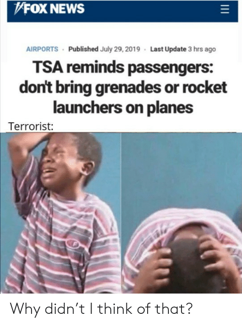 Fox News: FOX NEWS  AIRPORTS Published July 29, 2019 Last Update 3 hrs ago  TSA reminds passengers:  don't bring grenades or rocket  launchers on planes  Terrorist: Why didn't I think of that?