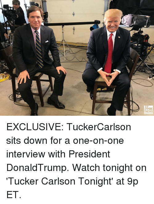 Memes, 🤖, and Fox: FOX  NEWS EXCLUSIVE: TuckerCarlson sits down for a one-on-one interview with President DonaldTrump. Watch tonight on 'Tucker Carlson Tonight' at 9p ET.