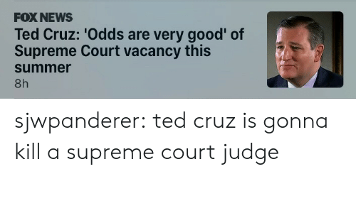 vacancy: FOX NEWS  Ted Cruz: 'Odds are very good' of  Supreme Court vacancy this  summer  8h sjwpanderer: ted cruz is gonna kill a supreme court judge