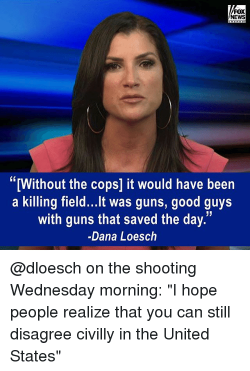 "Guns, Memes, and News: FOX  NEWS  ""[Without the cops] it would have been  a killing field...It was guns, good guys  with guns that saved the day.  -Dana Loesch @dloesch on the shooting Wednesday morning: ""I hope people realize that you can still disagree civilly in the United States"""