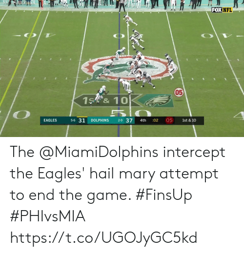 mary: FOX NFL  050  1S &10  5-6 31  2-9 37  05  EAGLES  DOLPHINS  :02  1st & 10  4th The @MiamiDolphins intercept the Eagles' hail mary attempt to end the game. #FinsUp #PHIvsMIA https://t.co/UGOJyGC5kd