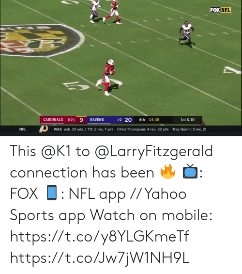 Thompson: FOX NFL  1-0 20  CARDINALS  4th 14:45  RAVENS  1st & 10  O-O-1  Chris Thompson: 4 rec, 32 yds Trey Quinn: 3 rec, 2  NFL  WAS ush, 25 yds, 1 TD; 2 rec, 7 yds This @K1 to @LarryFitzgerald connection has been 🔥  📺: FOX 📱: NFL app // Yahoo Sports app Watch on mobile: https://t.co/y8YLGKmeTf https://t.co/Jw7jW1NH9L