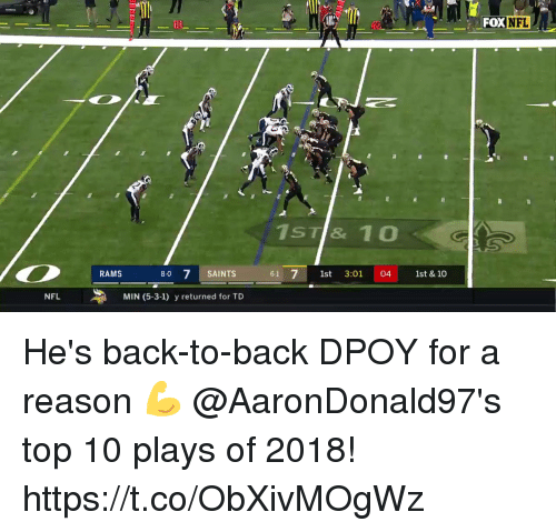Back to Back: FOX NFL  10  1ST& 10  RAMS  8-0 7 SAINTS  61 1st 3:01 04 st & 10  NFL  MIN (5-3-1) y returned for TD He's back-to-back DPOY for a reason 💪  @AaronDonald97's top 10 plays of 2018! https://t.co/ObXivMOgWz