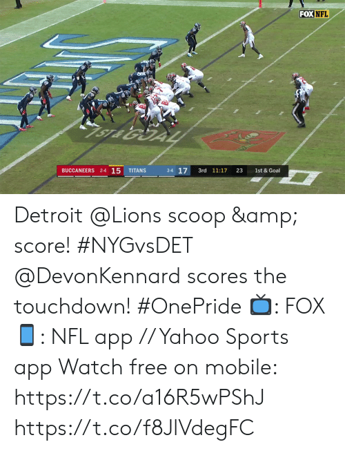 Detroit Lions: FOX NFL  1ST & 10  2  2-5 O  GIANTS  LIONS  1st  7:21  13  1st & 10  2-3-1 Detroit @Lions scoop & score! #NYGvsDET  @DevonKennard scores the touchdown! #OnePride  📺: FOX 📱: NFL app // Yahoo Sports app Watch free on mobile:  https://t.co/a16R5wPShJ https://t.co/f8JlVdegFC