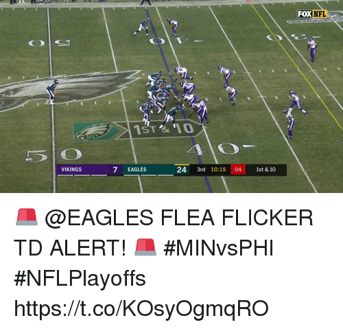 Philadelphia Eagles, Memes, and Nfl: FOX NFL  1ST '10  5 O  7 EAGLES  VIKINGS  24 3rd 10:15 04 1st &10 🚨 @EAGLES FLEA FLICKER TD ALERT! 🚨  #MINvsPHI #NFLPlayoffs https://t.co/KOsyOgmqRO