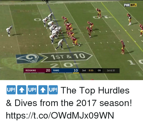 Memes, Nfl, and Washington Redskins: FOX  NFL  1ST &10  REDSKINS  20 RAMS  10 3rd 09 1st & 10  8:55 🆙⬆️🆙⬆️🆙  The Top Hurdles & Dives from the 2017 season! https://t.co/OWdMJx09WN