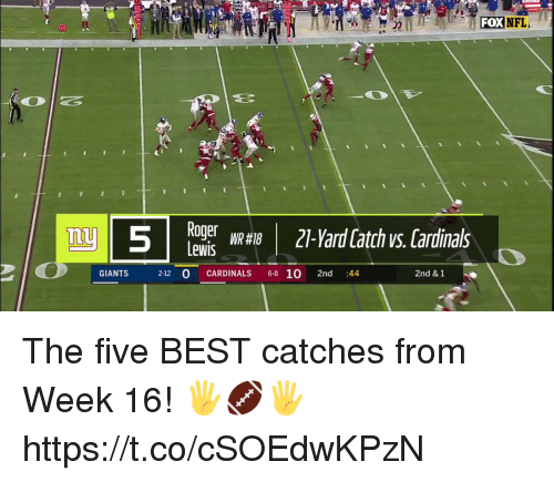 Memes, Nfl, and Best: FOX  NFL  20  nu  Lewis  GIANTS  2-12 O CARDINALS 6-8 10 2nd :44  2nd & 1 The five BEST catches from Week 16! 🖐🏈🖐 https://t.co/cSOEdwKPzN