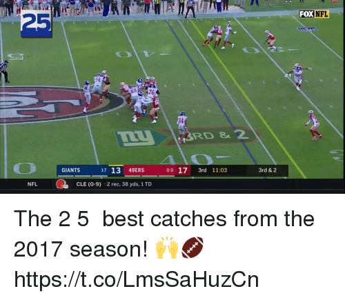 San Francisco 49ers, Memes, and Nfl: FOX NFL  25  74  34  3RD &2  GIANTS 17 13 49ERS 0-9 17 3rd 11:03  0-9  3rd 11:03  3rd & 2  NFL  CLE (0-9)  2 rec, 38 yds, 1 TD The 2️⃣5️⃣ best catches from the 2017 season! 🙌🏈 https://t.co/LmsSaHuzCn