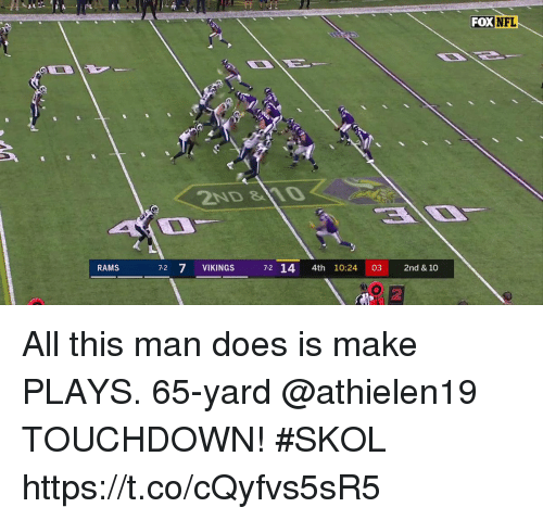 Memes, Nfl, and Rams: FOX NFL  2ND 10  RAMS  7-2 7 VIKINGS 72 14 4th 10:24 03 2nd & 10  2 All this man does is make PLAYS.  65-yard @athielen19 TOUCHDOWN! #SKOL https://t.co/cQyfvs5sR5