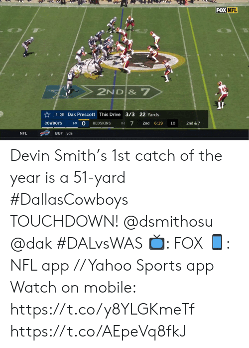 Devin: FOX NFL  2ND & 7  4 QB Dak Prescott This Drive 3/3 22 Yards  1-0 O  7  2nd & 7  COWBOYS  REDSKINS  2nd  6:19  10  0-1  BUF yds  NFL Devin Smith's 1st catch of the year is a 51-yard #DallasCowboys TOUCHDOWN! @dsmithosu @dak #DALvsWAS   📺: FOX 📱: NFL app // Yahoo Sports app Watch on mobile: https://t.co/y8YLGKmeTf https://t.co/AEpeVq8fkJ
