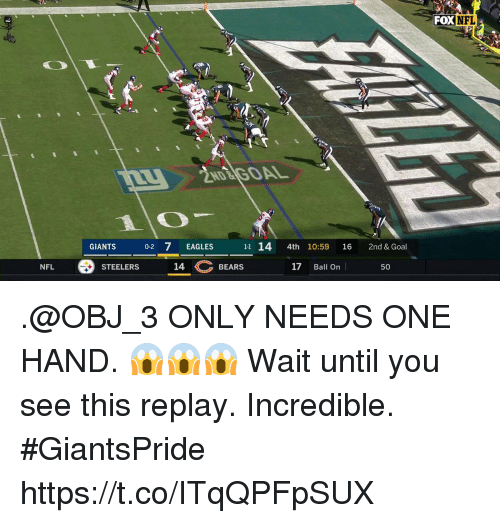 Philadelphia Eagles, Memes, and Nfl: FOX  NFL  2ND GOAL  GIANTS  0-2 7 EAGLES  11 14 4th 10:59 16 2nd &Goal  NFL  STEELERS  14  BEARS  17 Ball On  50 .@OBJ_3 ONLY NEEDS ONE HAND. 😱😱😱  Wait until you see this replay. Incredible. #GiantsPride https://t.co/ITqQPFpSUX