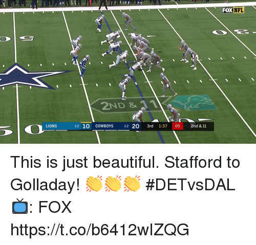 Beautiful, Dallas Cowboys, and Memes: FOX NFL  2ND &  LIONS  1-2 10 COWBOYS 1-2 20 3rd 1:37 052nd & 11 This is just beautiful.  Stafford to Golladay! 👏👏👏 #DETvsDAL  📺: FOX https://t.co/b6412wIZQG