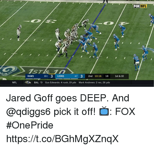 gus: FOX  NFL  3  RAMS  101 3 LIONS  4-7 32nd 10:16 18 1st & 10  NFL  >  BALID  Gus Edwards: 4 rush, 19 yds  Mark Andrews: 2 rec, 26 yds Jared Goff goes DEEP.  And @qdiggs6 pick it off!  📺: FOX #OnePride https://t.co/BGhMgXZnqX