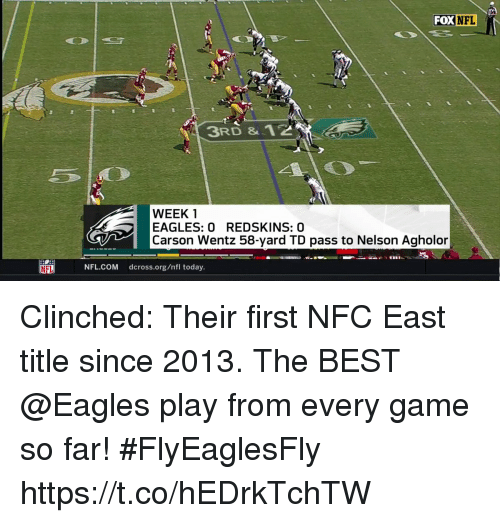 Philadelphia Eagles, Memes, and Nfl: FOX NFL  3RD & 12  WEEK 1  EAGLES: 0 REDSKINS: 0  Carson Wentz 58-yard TD pass to Nelson Agholor  NFL.COM dcross.org/nfl today. Clinched: Their first NFC East title since 2013.  The BEST @Eagles play from every game so far! #FlyEaglesFly https://t.co/hEDrkTchTW
