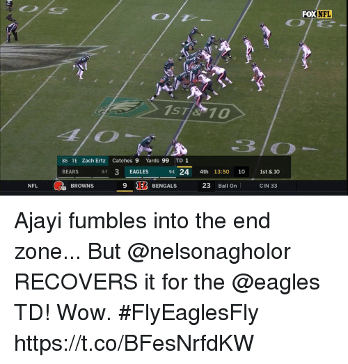 NFL: FOX NFL  86 TE Zach Ertz Catches 9 Yards 99 TD1  BEARS  37 3 EAGLES 91 24 4th 13:50 10 1st & 10  9 1EB BENGALS 23 Ball On CIN 33  NFL  BROWNS Ajayi fumbles into the end zone... But @nelsonagholor RECOVERS it for the @eagles TD! Wow. #FlyEaglesFly https://t.co/BFesNrfdKW