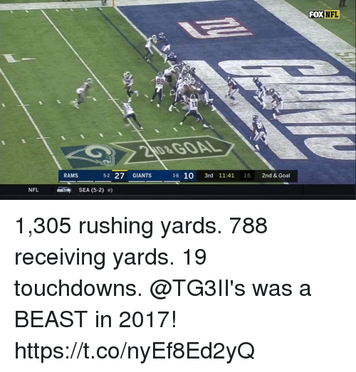 Memes, Nfl, and Giants: FOX  NFL  89  18  RAMS  52 27 GIANTS  NFL SEA (5-2) e) 1,305 rushing yards. 788 receiving yards. 19 touchdowns.  @TG3II's was a BEAST in 2017! https://t.co/nyEf8Ed2yQ