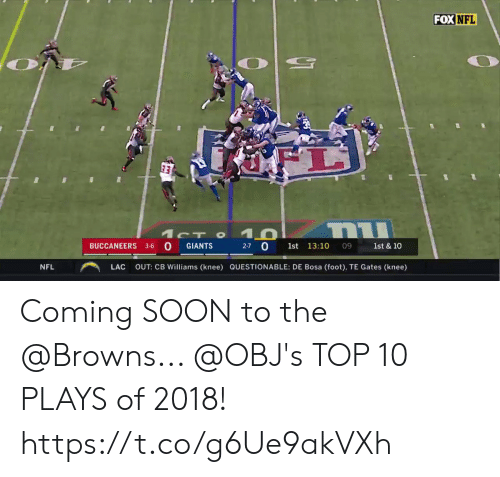 Questionable: FOX  NFL  BUCCANEERS 3-6 O GIANTS  27 0 1st 13:10  09 1st & 10  NFL  ︵  LAC  OUT: CB Williams (knee)  QUESTIONABLE: DE Bosa (foot), TE Gates (knee) Coming SOON to the @Browns... @OBJ's TOP 10 PLAYS of 2018! https://t.co/g6Ue9akVXh