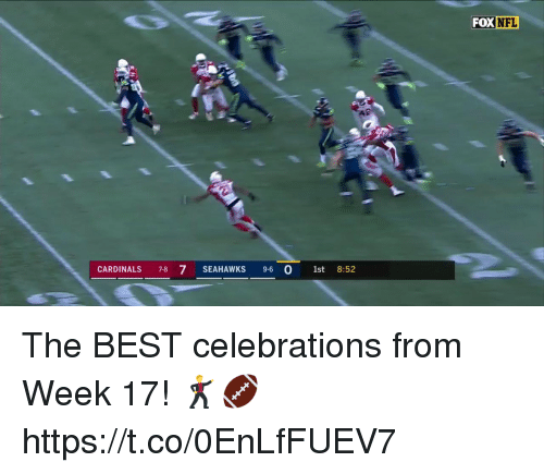 nfl cardinals: FOX NFL  CARDINALS 7-8 7 SEAHAWKS 9-6 O 1st  8:52 The BEST celebrations from Week 17! 🕺🏈 https://t.co/0EnLfFUEV7