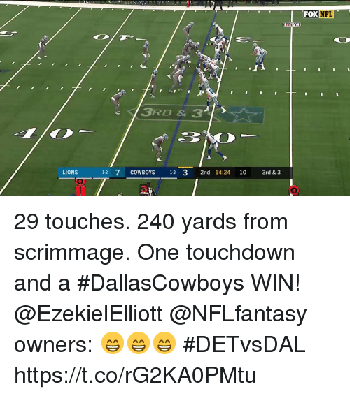 Dallas Cowboys, Memes, and Nfl: FOX NFL  CD  1-2  LIONS 12 7 COWBOYS 3 2nd 14:24 10 3rd & 3  3 29 touches. 240 yards from scrimmage. One touchdown and a #DallasCowboys WIN!  @EzekielElliott @NFLfantasy owners: 😁😁😁 #DETvsDAL https://t.co/rG2KA0PMtu