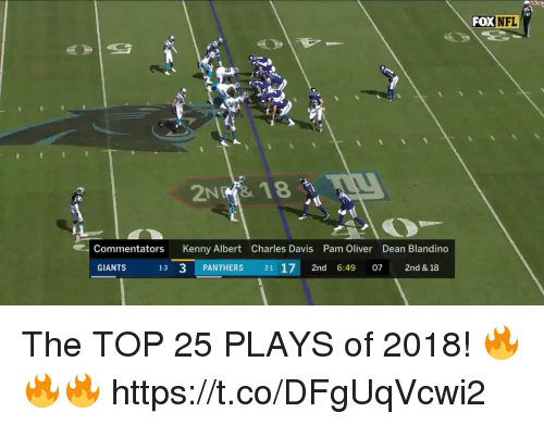 Commentators: FOX  NFL  Commentators Kenny Albert Charles Davis Pam Oliver Dean Blandino  GIANTS  13 3 PANTHERS 21 17 2nd 6:49 7 2nd & 18 The TOP 25 PLAYS of 2018! 🔥🔥🔥 https://t.co/DFgUqVcwi2