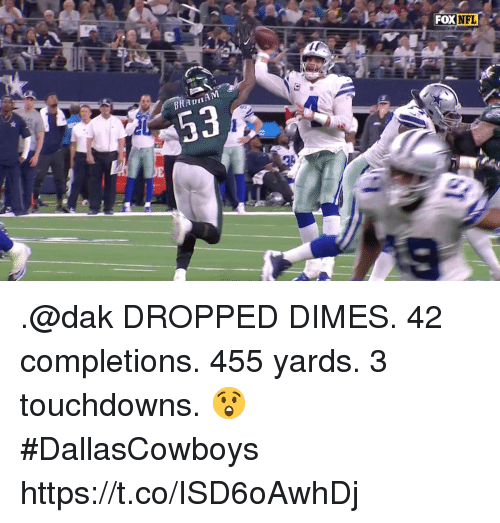 dimes: FOX  NFL .@dak DROPPED DIMES.   42 completions.  455 yards.  3 touchdowns. 😲   #DallasCowboys https://t.co/ISD6oAwhDj