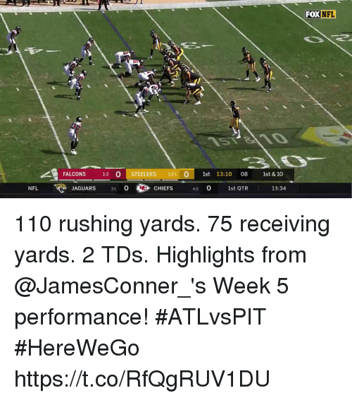Andrew Bogut, Memes, and Nfl: FOX NFL  FALCONS 13 O STEELERS 121 01st 13:10 08 t& 10  NFL  JAGUARS 3 0  CHIEFS  40 0  1st QTR  13:34 110 rushing yards. 75 receiving yards. 2 TDs.  Highlights from @JamesConner_'s Week 5 performance! #ATLvsPIT #HereWeGo https://t.co/RfQgRUV1DU