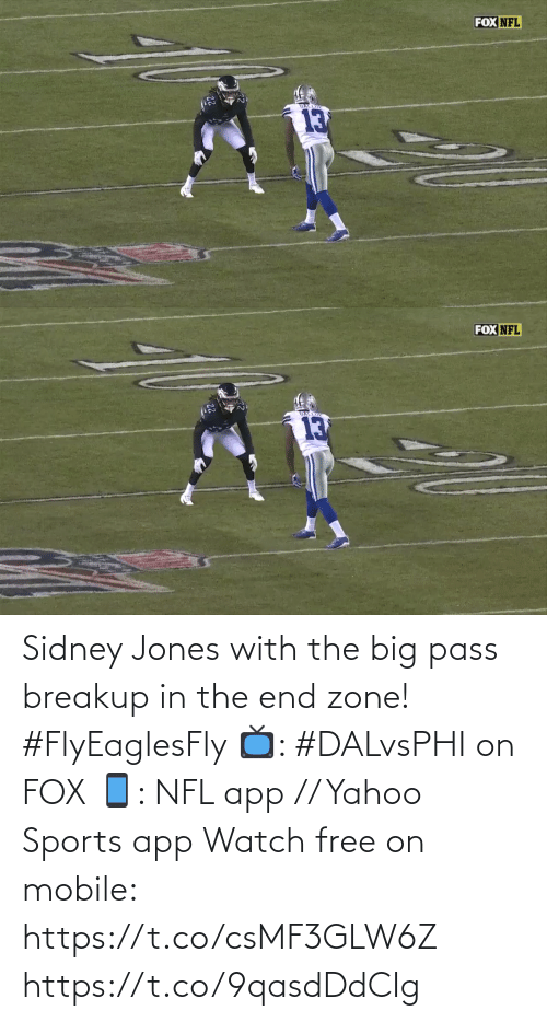 breakup: FOX NFL   FOX NFL  GALLIP  13 Sidney Jones with the big pass breakup in the end zone! #FlyEaglesFly   📺: #DALvsPHI on FOX 📱: NFL app // Yahoo Sports app Watch free on mobile: https://t.co/csMF3GLW6Z https://t.co/9qasdDdCIg