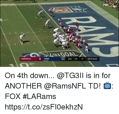 Memes, Nfl, and Cardinals: FOX  NFL  LTH&GOAL  CARDINALS  0 RAMS  11 2nd :03 07 4th & Goal On 4th down... @TG3II is in for ANOTHER @RamsNFL TD!  📺: FOX #LARams https://t.co/zsFI0ekhzN