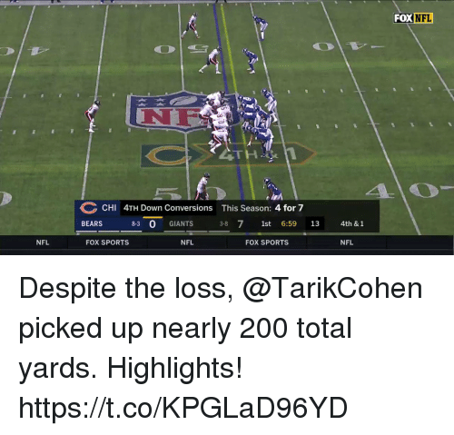 season-4: FOX NFL  NF  CHI 4TH Down Conversions This Season: 4 for 7  BEARS 8-3 0 GIANTS 3-8 71st 6:59 13  4th & 1  NFL  FOX SPORTS  NFL  FOX SPORTS  NFL Despite the loss, @TarikCohen picked up nearly 200 total yards. Highlights! https://t.co/KPGLaD96YD